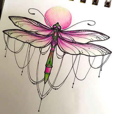 Pink Girly Dragonfly Tattoo