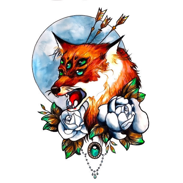 Psychedelic Fox Tattoo Design