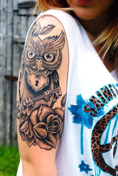 Best Half Sleeve Owl Tattoo Idea
