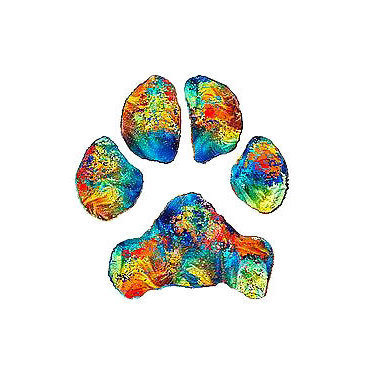 Rainbow Puppy Paw Print Tattoo