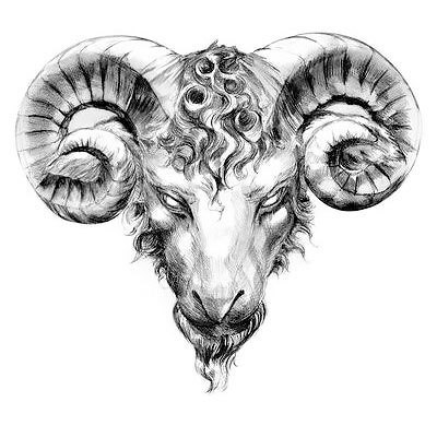 Ram Head Realistic Tattoo Design