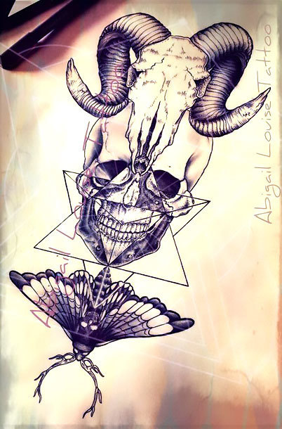 Ram Skull Human Skull and Death Moth Tattoo Design
