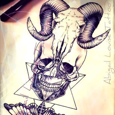 Ram Skull Human Skull and Death Moth Tattoo