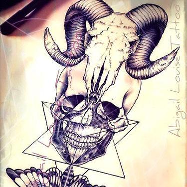 Ram Skull Human Skull and Death Moth Tattoo