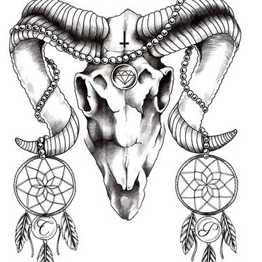 Ram Skull With Dream Catchers Tattoo