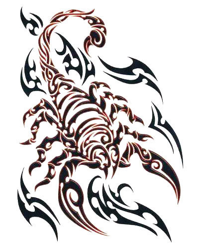 Red and Black Tribal Scorpion Tattoo Design