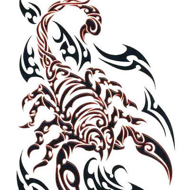 Red and Black Tribal Scorpion Tattoo