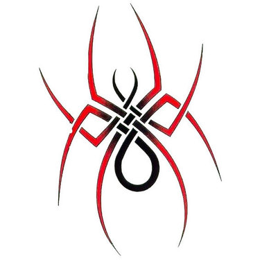 Red Simple Tribal Spider Tattoo