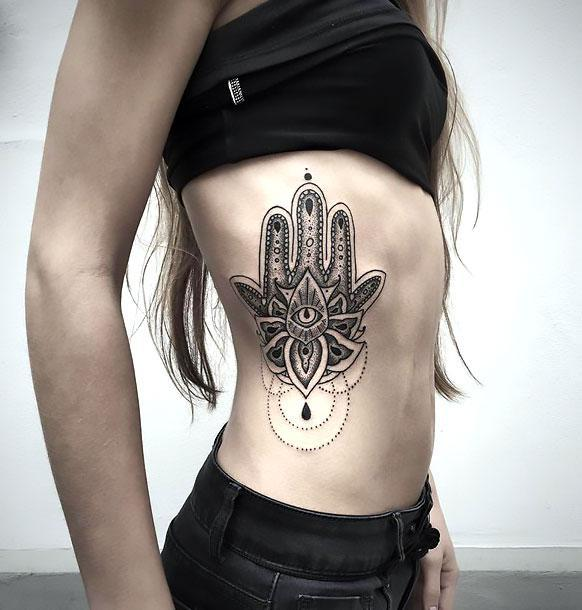 Best Hamsa on Side Tattoo Idea