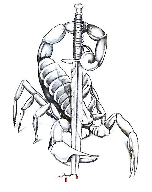 Scorpion With Knife Tattoo Design