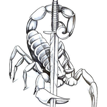 Scorpion With Knife Tattoo