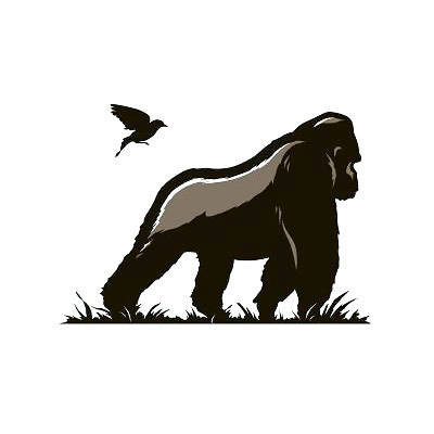 Silverback Gorilla and Bird Tattoo Design