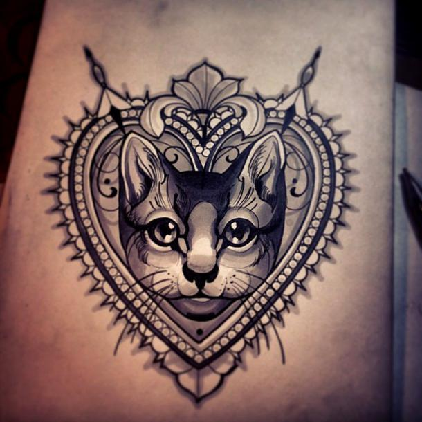 Best Cat Portrait Tattoo Idea