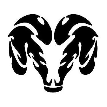 Simple Tribal Ram Head Tattoo