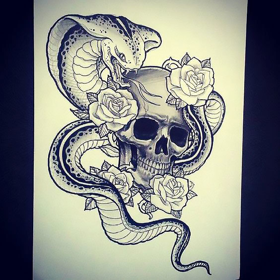 Skull Flowers Cobra Tattoo Design