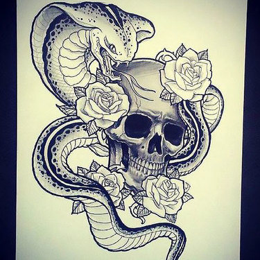Skull Flowers Cobra Tattoo