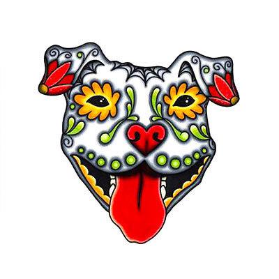 Sugar Skull Pitbull Tattoo Design