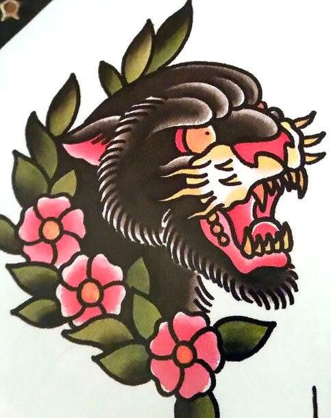 Traditional Panther Face Tattoo Design