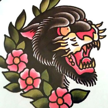 Traditional Panther Face Tattoo