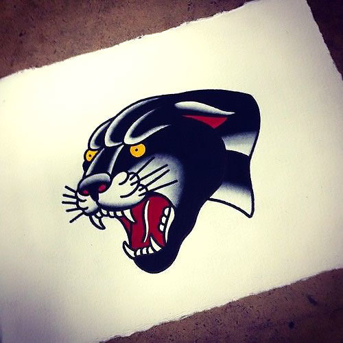Traditional Panther Head Tattoo Design