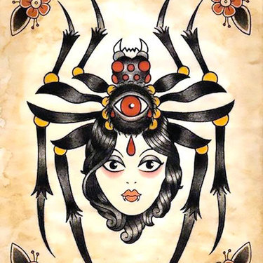 Traditional Spider Girl Tattoo