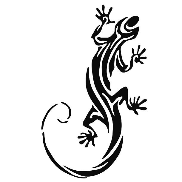 Black Tribal Lizard Tattoo Design