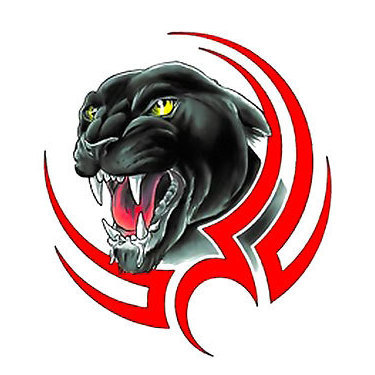 Tribal Panther Face Black and Red Tattoo