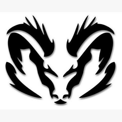 Tribal Ram Head Tattoo Design