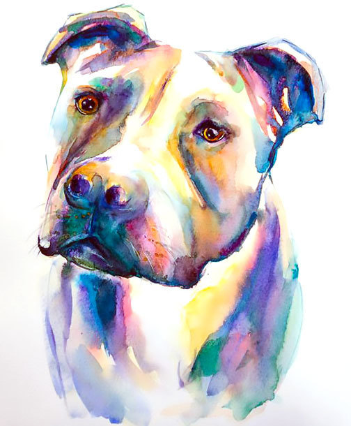 Watercolor Pitbull Face Tattoo Design