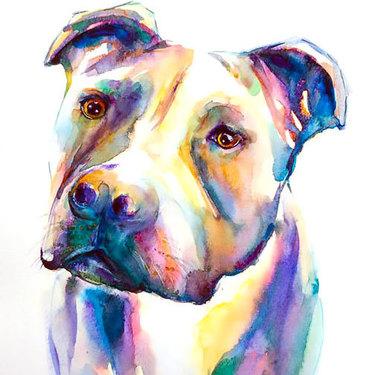 Watercolor Pitbull Face Tattoo