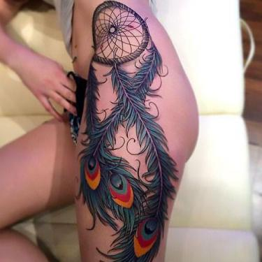 Best Hip Peacock Feather Tattoo