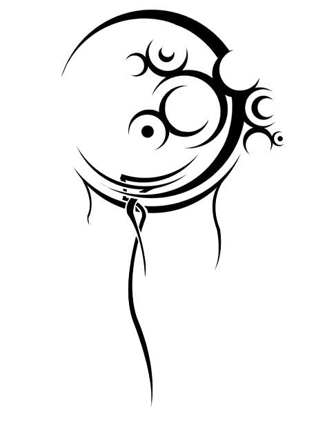 Abstract Tribal Moon Tattoo Design