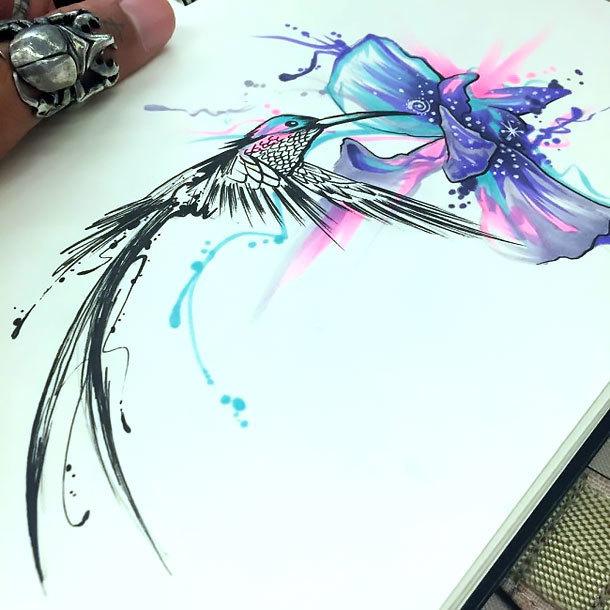 Amazing Hummingbird Tattoo Design