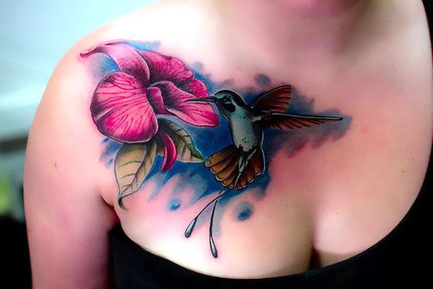 Best Hummingbird Tattoo on Chest Tattoo Idea