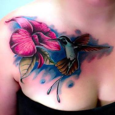 Best Hummingbird Tattoo on Chest Tattoo