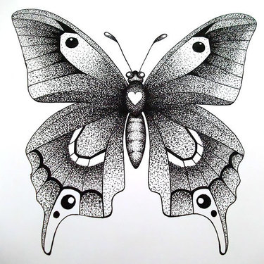 Awesome Butterfly Dotwork Tattoo