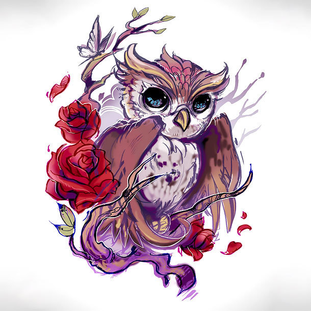 Baby Owl Tattoo Design