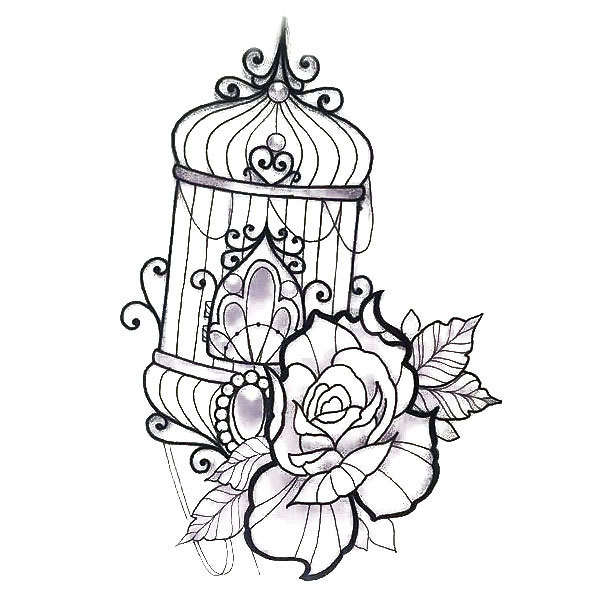 Beautiful Birdcage Tattoo Design