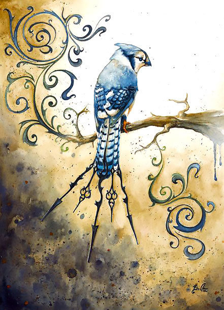 Best Bluebird on Branch Tattoo Design