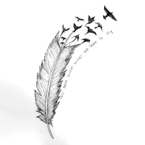 Best Feather Turning Into Birds Tattoo Design