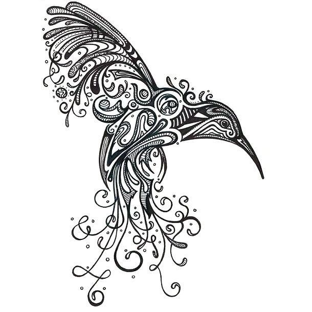 Best Ornate Hummingbird Tattoo Design
