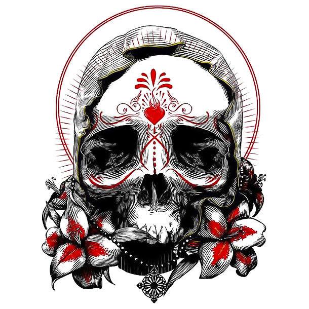 Best Trash Polka Skull Tattoo Design