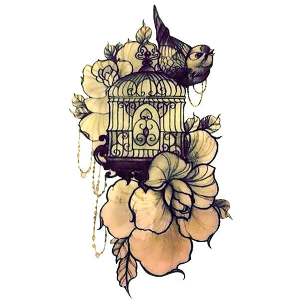 Birdcage and Flowers Tattoo Design