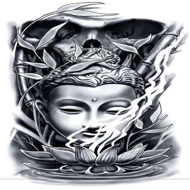 Black and Gray Buddha Tattoo Design