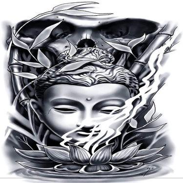 Black and Gray Buddha Tattoo