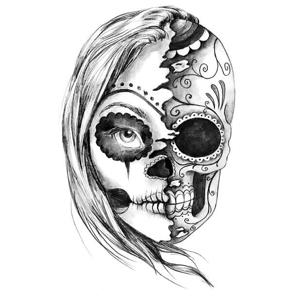 Black and Gray Half Skull Tattoo Design