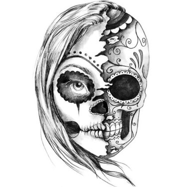 Black and Gray Half Skull Tattoo