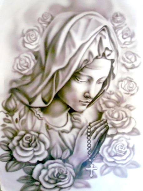 Black and Gray Praying Woman Tattoo Design