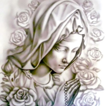 Black and Gray Praying Woman Tattoo