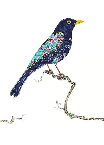 Blackbird on Branch Tattoo Design